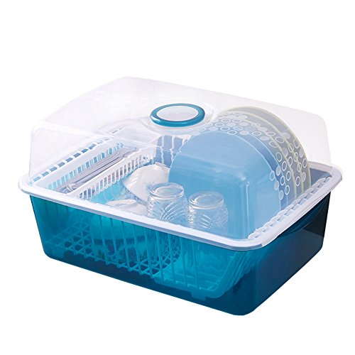 PENGFEI Cupboard Organizers Kitchen Rack Corner Tray Drain Shelf With Cover Multifunction, 2 Colors, 45 * 33 * 25cm strong and sturdy (Color : Blue)