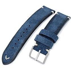 21mm MiLTAT Navy Blue Genuine Nubuck Leather Watch Strap, Beige Stitching, Sandblasted Buckle