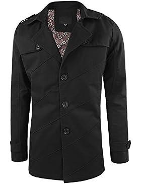 semen Herren Langarm Windjacke Knopfleiste V Ausschnitt Stehkragen slim einfärbig Übergangsjacke Drucken Mantel