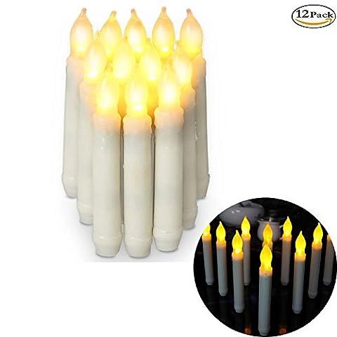 12er Set LED Tafelkerzen Stabkerzen Echtwachs Kerze flackernd Crème Batterie Flammenlose Leuchterkerzen für Hochzeit Ostern Deko-Warmweiß (16.5*2.0 cm)