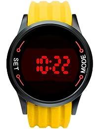 Reloj ♥♥Moda impermeable LED de pantalla táctil fecha silicona reloj negro de la muñeca (Amarillo)