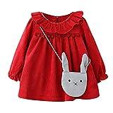 MRULIC Baby Mädchen langärmelige Lotusblatt-Kragen-Tasche Princess Dress Pullover Outfits Winteranzug Kinder Baby Mädchen Gestreifte Prinzessin Kleid(Rot,Höhe:85-90cm)