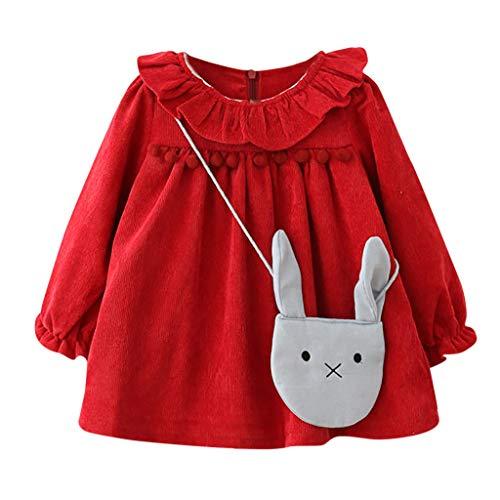 MRULIC Baby Mädchen langärmelige Lotusblatt-Kragen-Tasche Princess Dress Pullover Outfits...