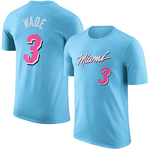 T-Shirt NBA Miami Heat Dwyane Tyrone Wade, Jr. Top für Junge Männer Bequemes Basketball-Top S-3xl Hellblau, M