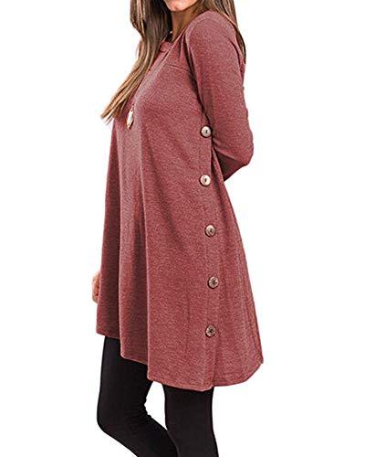 Damen Herbst Winter T-Shirt Kleider Casual Langarm Button Side Blusen Tunika Tops Dunkelrot XL -