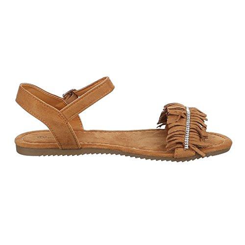 Damen Schuhe, JU-66, SANDALEN MIT FRANSEN VERZIERTE RIEMCHEN Camel