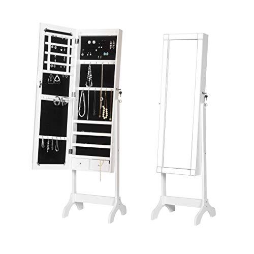 WOLTU MB6014ws Schmuckschrank Spiegelschrank mit LED Beleuchtung Standspiegel Ganzkörperspiegel Schmuckkasten Ankleidespiegel 160x48x40cm, weiß