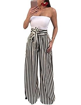 Mupoduvos Mujer Casual Rayas Loose Belted Parte Playa De Cintura Alta Pantalones Palazzo