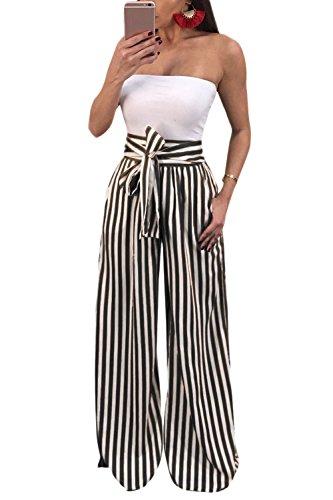 Mupoduvos La Mujer Casual Rayas Loose Belted Parte Playa De Cintura Alta  Pantalones Palazzo Black XL 33d4495487ea