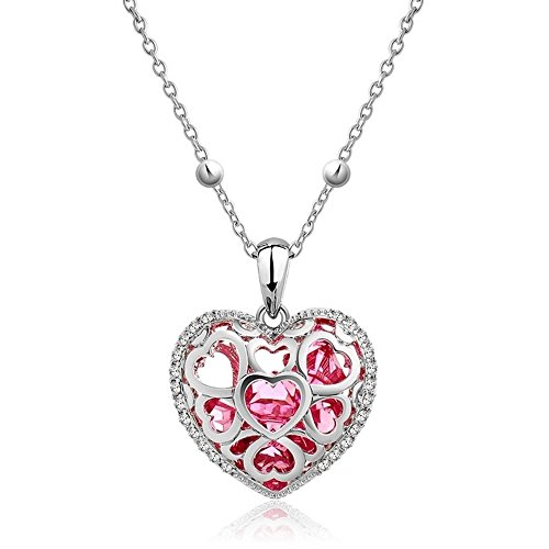 NEVI Heart Stylish Designer Party Wear Swarovski Elements Czech Crystals Rhodium Plated Opera Pendant Necklace Jewellery for Women & Girls (Red & Silver)
