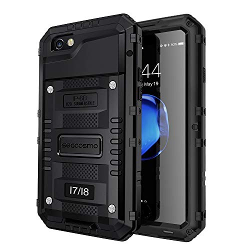 seacosmo iPhone 7 wasserdichte Hülle, Militärstandard Schutzhülle mit Eingebautem Displayschutz Haltbarkeit stoßfest Handyhülle für iPhone 8, Schwarz