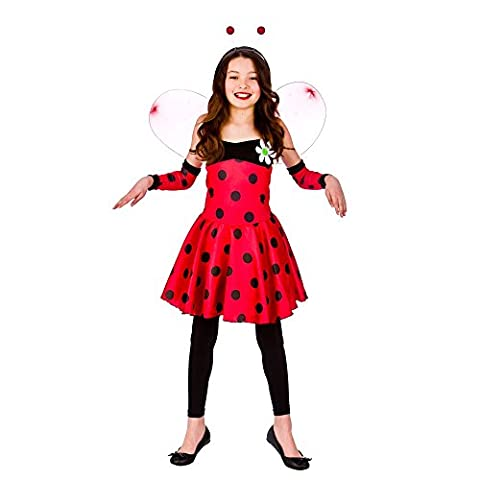 Girls Lovely Ladybug Costume for Ladybird Bug Insect Creepy Crawly Fancy Dress (XL) Extra Large 11-13yrs 146-158cm Chest 80cm Waist
