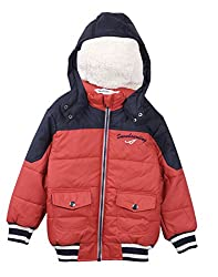 Beebay Boys 100% Polyester Woven Zip Up Puffer Hooded Jacket (Orange,6-12 Months)