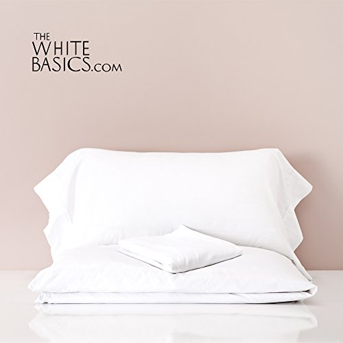 Fadenzahl 300 Baumwoll-satin Bettwäsche (The White Basics–Santorin–300Fadenzahl 100% gekämmte Baumwolle Satin-Bettwäsche mit Bettlaken für Doppelbett 200cm Breite. Das Set enthält einen Bettbezug 260x 220cm, einem Spannbetttuch 200x 200cm und zwei Kissenbezügen 50x 100cm weiß 90 cm)