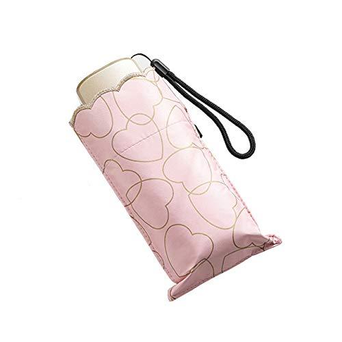 WDDP Faltbarer Sonnenschirm Für Die Reise , Sonnenschirm Für Damen Mit UV-Schutz UPF 50+ Kompakte Größe Mit Schwarzer Unterseite Halten Sie Im Heißen Sommer Kühler,A -