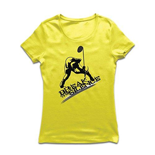 Frauen T-Shirt Break The Silence, Musiknote - Rock'n'Roll - Heavy Metal - 60er, 70er, 80er, 90er (Medium Gelb Mehrfarben)