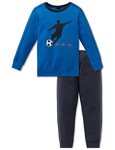 Schiesser Jungen Zweiteiliger Schlafanzug Fußball Kn Anzug Lang, Blau (Blau 800), 116 (Herstellergröße:  4-5 Jahre )