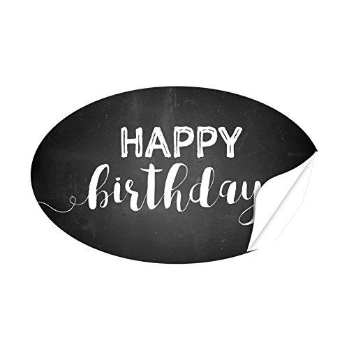 20 x ovale Aufkleber Happy Birthday auf Schwarz Tafel-Look - Format ca. 8 x 5 cm - Etiketten, Sticker und Aufkleber für jeden Anlass