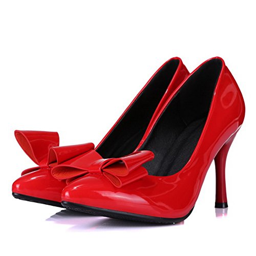 VogueZone009 Donna Tirare Punta Chiusa Tacco Alto Luccichio Puro Ballerine Rosso