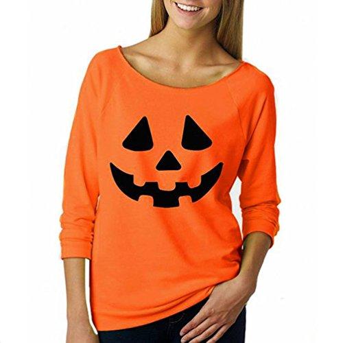Frauen Beiläufig Pullover Sweatshirt, Hmeng Halloween Kürbis Muster Pullover aus Schulter lange Ärmel Bluse Tops (M, Orange-B)