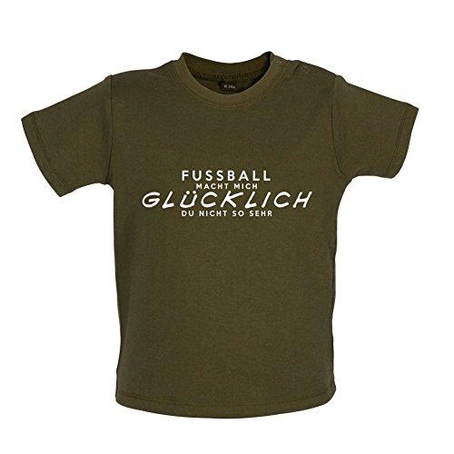 Fussball macht mich glücklich - Baby T-Shirt - Grün Camouflage - 3 bis 6 Monate (Mama Shirt Glücklichen)