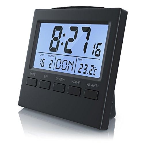 Bearware - Reloj Despertador Digital con indicación de la Temperatura - Reloj Despertador Alarma de Viaje radiocontrolado DCF - Pantalla LCD de 3,3 Pulgadas con retroiluminación por LED Azul