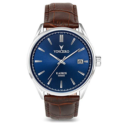 Vincero Herren Kairos Quarz Uhr Mit Lederband - Blau/Marron