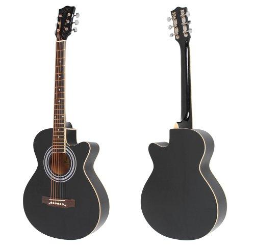 ts-ideen 4513 4/4 Akustik Gitarre Westerngitarre Cutaway schwarz mit weißem ABS-Rand