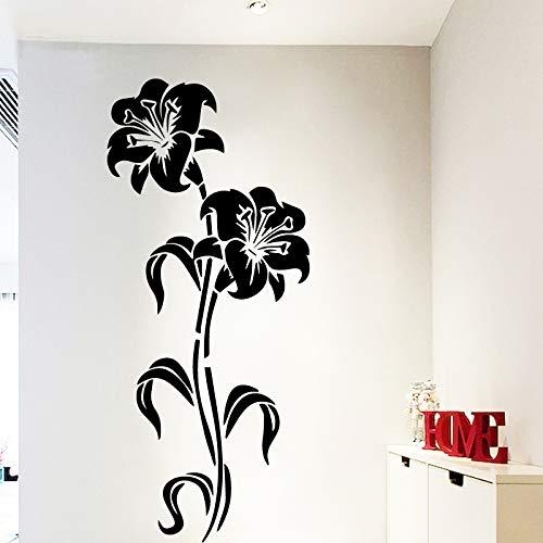 Preisvergleich Produktbild yiyiyaya Künstlerische Blume Home Decor Vinyl Wandaufkleber Kinderzimmer Dekor Aufkleber Home Decor schwarz 58cm X 131cm