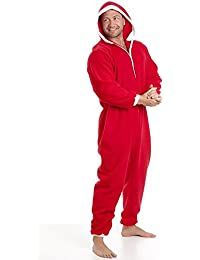 Camille Hombres clásicos todo en un paño grueso y suave rojo Pjama Onesie