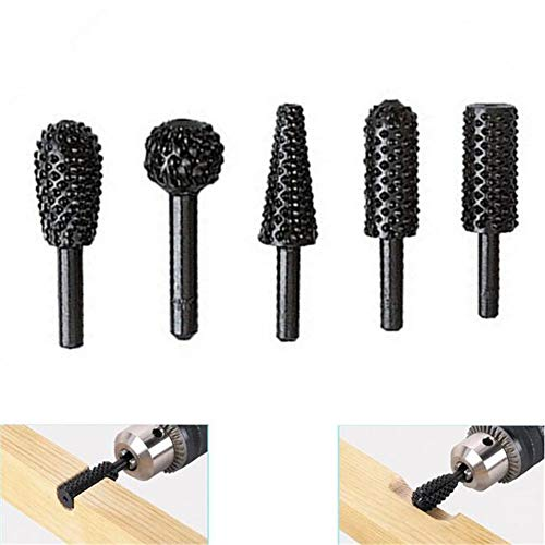MODEOR 5 Pcs/Set 60mm HSS Power Drill Tool Woodworking Rasp Chisel Shaped Rotating Embossed Grinding Head Power Drill Engraving Pattern Cutter Bit Milling -