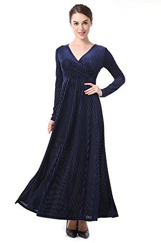 EOZY Robe De Cocktail Soirée Femme Longue Col V Clubwear Party Élégant Vintage Bleu Marine