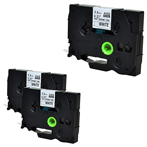 Nineleaf kompatibel Schrumpfschlauch Band für Brother HS-211 HS211 HSe-211 HSe211 P-Touch E300 E300VP E500 E500VP E550W E550WVP H300 PT-H500 PT-H500LI PT-P700 5.8mm x1.5m schwarz auf weiß 3 Packung - Schrumpfschlauch Bands