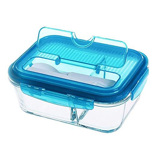 HHFZH Brotdose, Bento-Box Hitzebeständige Aufbewahrungsbox Aus Glas Obstbrotdose Mikrowelle Studentenbrotdose Mit Besteck Polycarbonat Food Storage Box