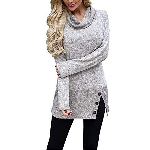 TEELONG Sweatshirt Damen Pullover Sweatshirt lässige Lange Ärmel Knopf Cowl Neck Tunic Tops Longpullover Pulli Bluse Pullover Tunika Langarmshirt(M, Grau)