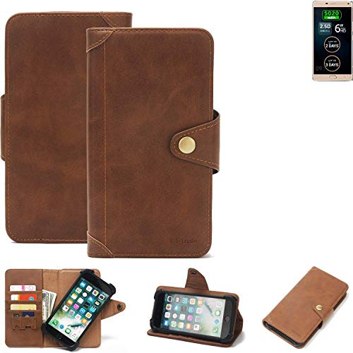 K-S-Trade® Handy Hülle Für Allview P8 Energy Pro Schutzhülle Walletcase Bookstyle Tasche Handyhülle Schutz Case Handytasche Wallet Flipcase Cover PU Braun (1x)