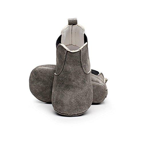 MiyaSudy Bébés Filles Garçons Bottes Chaudes Faux Cuir Camouflage Élastique Semelle Molle Hiver Tout Petit Lit De Bébé Chaussures 0-18 Mois Gris