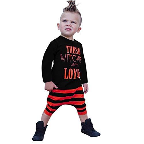 SuperSU Herbst und Winter Lange Ärmel Bodysuit Kleinkind Baby Jungen Brief Tops T Shirts Striped Prin Hosen Halloween Kleidung Sets Strampler Kürbis Kostüm für Baby Halloween Karneval Party Kleid