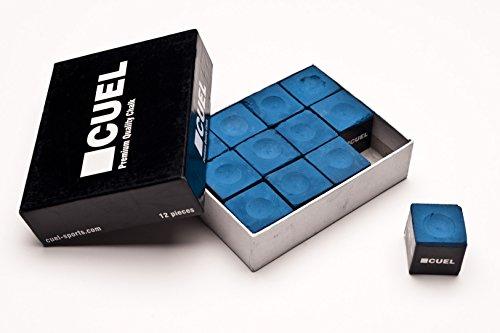 Cuel Billard-Kreide blau und grün für Pool, Snooker und Carambolage, 12 Stück (blau)