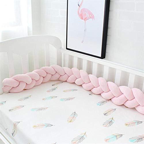 gaeruite paracolpi Baby Treccia Cuscino per culle, Letti a Mano Lungo Nodo Cuscino, Culla paraurti trecce di Serpente Pillow,1/1.5/2m, Rosa, 1,5 m