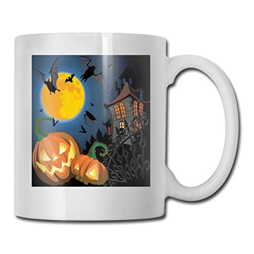 Jolly2T Funny Ceramic Novelty Coffee Mug 11oz,Gothic Halloween Haunted House Party Theme Design Trick Or Treat Motifs Print,Unisex Who Tea Mugs Coffee Cups,Suitable for Office and Home