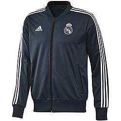 adidas - Chaqueta de chándal de poliéster del Real Madrid, otoño/Invierno, Hombre, Color Tech Onix/Core White