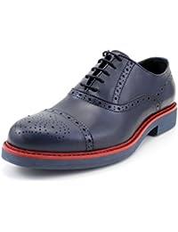 GIORGIO REA scarpe uomo stringate fatte a mano in Italia, vera pelle casual, leggere, comode francesine oxfords chiusura con lacci brogue blu scuro