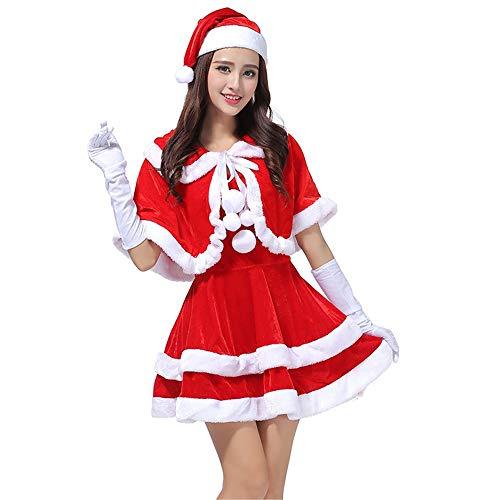 Havanadd Rauen Miss Santa Kostüm, Kleid Santa Claus Kostüm mit Santa Hut Cute Sexy Kleid mit Hut Cosplay Set für weibliche Mädchen ()