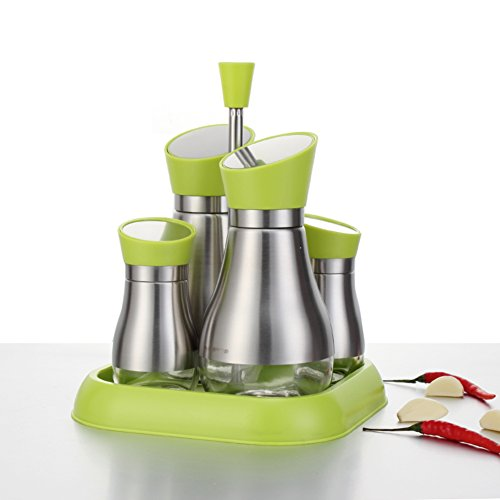 Edelstahl Spice Jar Menage Gewürz-Box Würze Vierstück Bausatz Glas Liner Menage-B