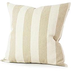 """Funda de almohada, de Keepwin, con estampa a rayas, estilo moderno, para sofá y decoración del hogar, mezcla de algodón, caqui, 18""""x18"""" (approx 45cm*45cm)"""