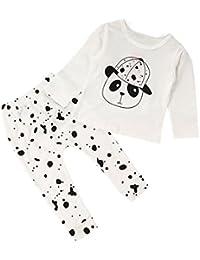 Vovotrade Camisa + pantalones, bebé de los niños del niño de los bebés de las muchachas oso Ropa de la impresión del guerrero de la panda