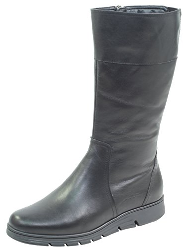 CAPRICE Damen Stiefel 26617-21,Frauen Boots,Lederstiefel,Schnürstiefel,seitl. Reißverschluss, Decksohle,3cm,Black Nappa,EU 39