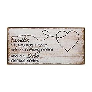 GILDE Vintage Retro Blechschild, Material Metall, Maße 21 x 10 cm, Weisheit Zuhause/Familie mit Spruch: Familie ist, wo das Leben seinen Anfang nimmt.