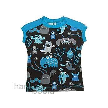Shirt in Größe 98 mit blauen Monstern auf schwarz vorne und einfarbig blau hinten, Bündchen türkis, 95% Baumwolle, 5% Elasthan